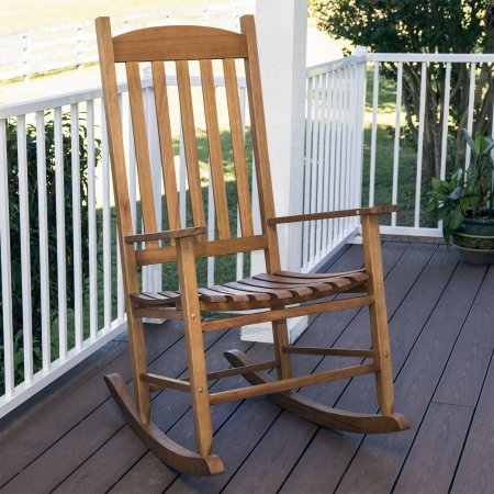 Mainstays Outdoor Traditional Natural Wood Slat Rocking Chair by Generic