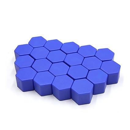 Sourcingmap Coche 20Pcs 17mm Hexagonal Tuerca Tap/ón de Tornillo de Llanta Rueda Tapa Decorativa Protecdor Azul Luminoso de Silicona