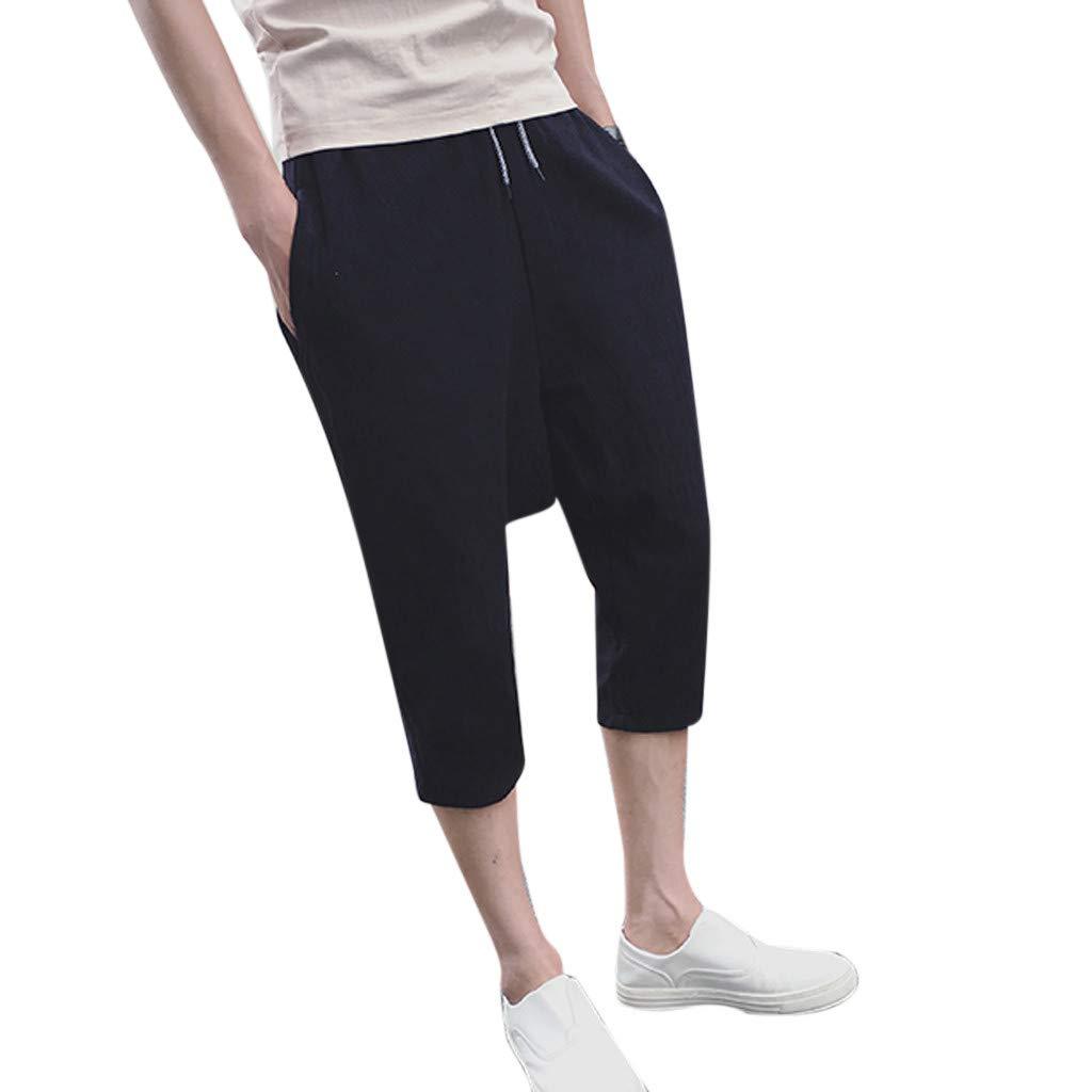 aiNMkm Sweatpants,Men's New Summer Fashion Leisure Flax Loose Hallen Calf-Length Shorts Pants,Black,L