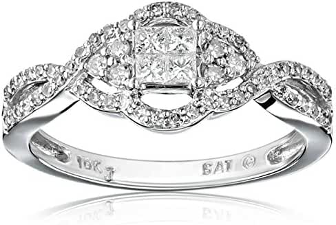 10k White Gold Diamond Ring (1/2 cttw, H-I Color, I2-I3 Clarity)