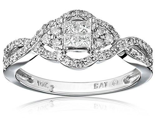 10k White Gold Diamond Ring (1/2 cttw, H-I Color, I2-I3 Clarity), Size 7