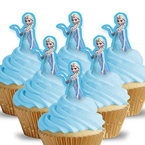 Cakeshop 12 x VORGESCHNITTENE UND ESSBARE Disney Princess Elsa Kuchen topper (Tortenaufleger)