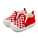 Infant Baby Boy or Girl Cotton Slip-On Soft Sole Non-Slip Casual Shoes Sneakers (12-15 Months, Red)
