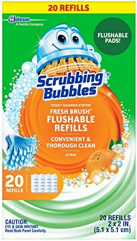 Scrubbing Bubbles Fresh Brush Flushables Refill Toilet and Toilet Bowl Cleaner Eliminates Odors and Limescale Citrus Action Scent 20ct