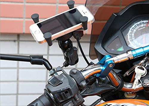 WALTSOM Motorcycle Phone Mount, Universal Bike Cell Phone Holder Handlebar Mirror Accessories with USB Charger for Smartphone, GPS Device