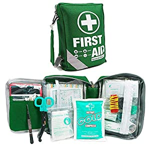 First Aid Kit -Compact First Aid Bag(175 Piece) – Reflective Bag Design- Includes 2 x Eyewash,Instant Cold Pack…
