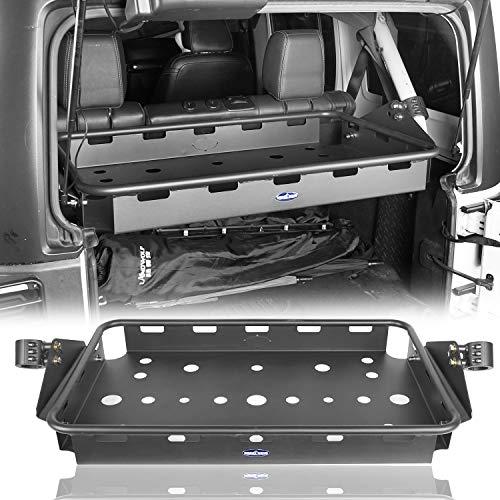 Hooke Road Jeep JK Interior Rear Cargo Basket Rack Solid Metal Luggage Storage Carrier for 2007-2018 Jeep Wrangler JK Unlimited (4 Doors)