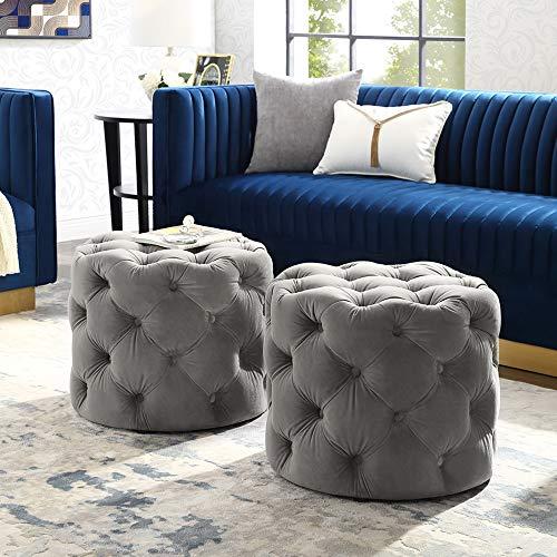 Inspired Home Grey Velvet Ottoman - Design: Lauren | Allover Tufted | Round | Modern Contemporary | 1 - Tufted Round Grey Ottoman