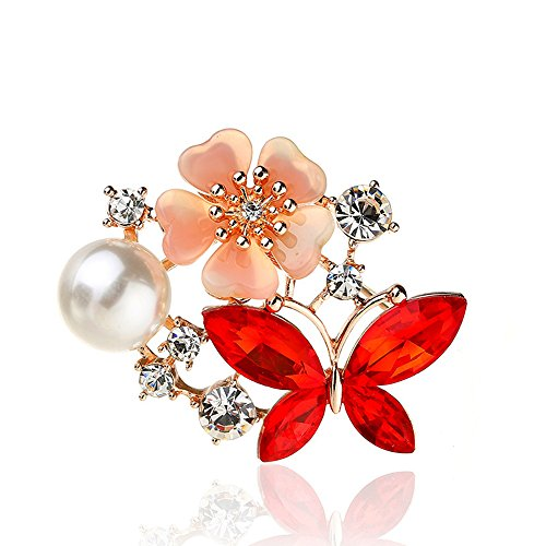 MUZHE Butterfly Flowers Pearl Rhinestone Ruby Brooch Sapphire Jewelry For Party - Brooch Butterfly Pearl