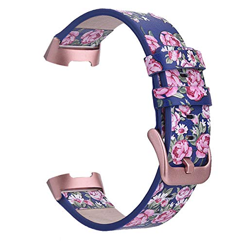 Band for Fitbit Charge 3 Bands/Charge 3 SE Band Women Men Leather,TOROTOP Genuine Leather Fashion Floral Watch Band Strap Compatible for Fitbit Charge 3 Flower Design Wrist Watch Bracelet (D Rose 1)