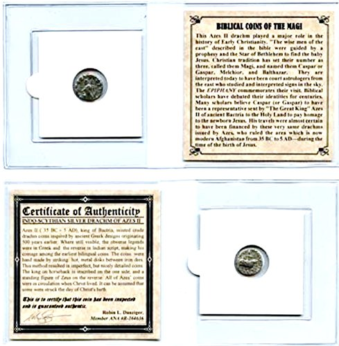 35 MX ANCIENT Biblical SILVER Coin of The Magi, 35 BC-5 AD,With Mini Album,Certificate & Story 18mm Very -