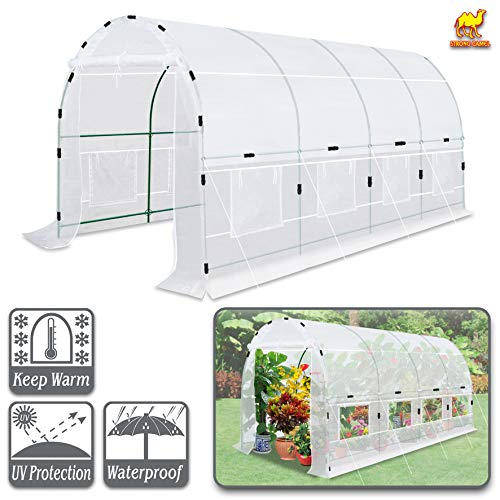 Strong Camel Large Walk-in Plants Greenhouse Portable Garden Green House Hot House w/Combined Cover-White (16'x7'x7.2′)