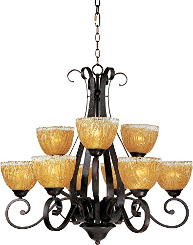 (Maxim 13416AIOI Barcelona 9-Light Chandelier, Oil Rubbed Bronze Finish, Amber Ice Glass, MB Incandescent Bulb , 40W Max., Damp Safety Rating, 2900K Color Temp, Standard Dimmable, Glass Shade Material, 3200)