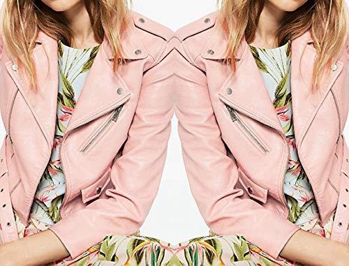 Tops E Di Rosa Blouse Donna Primavera Giovane Coat Casual Giacche Manica Corto Sottile Autunno Simple fashion Jacket Lunga Cappotto Moda Pelle Giacca Outerwear PxBY4Pwq