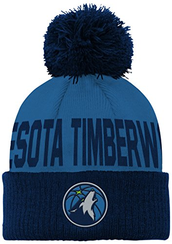 fan products of NBA Minnesota Timberwolves Children Boys Cuffed Knit with Pom Hat, 1 Size, Court Blue