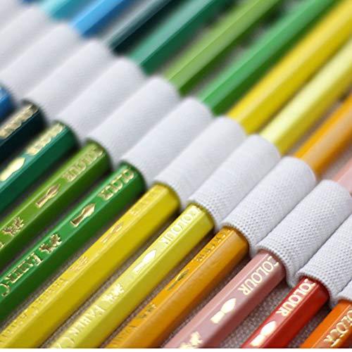Artily 72/fori tela matita Wrap astuccio arrotolabile case Brush organizer per sacchetto di stoccaggio con gatto modello per ufficio scolastico Art Craft 62 * 21cm White Tela