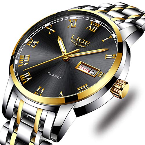 - LIGE Mens Watches Fashion Waterproof Stainless Steel Analogue Quartz Watch with Gents Business Automatic Calendar Wrist Watch for Men