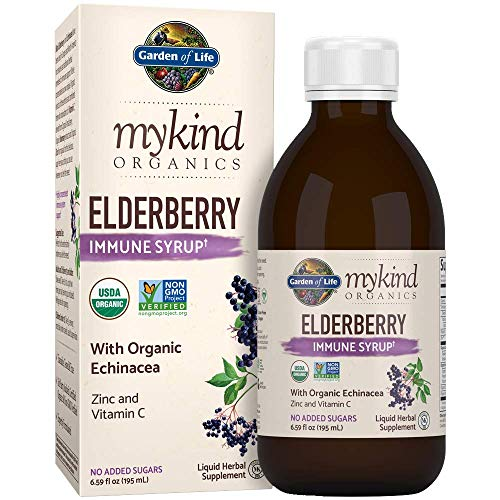 Garden of Life mykind Organics Elderberry Immune Syrup 6.59 fl oz (195 mL) for Kids & Adults - Sambucus, Echinacea, Zinc & Vitamin C, 0g Sugar, Organic Non-GMO Vegan & Gluten Free Herbal Supplements