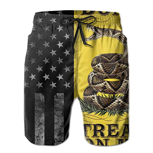 Mens Summer Surf Quick Dry Swim Trunks - American Flag and Don't Tread On Me Board Shorts Bathing Suit with Side Pockets Mesh Lining for Pool Beach Sports