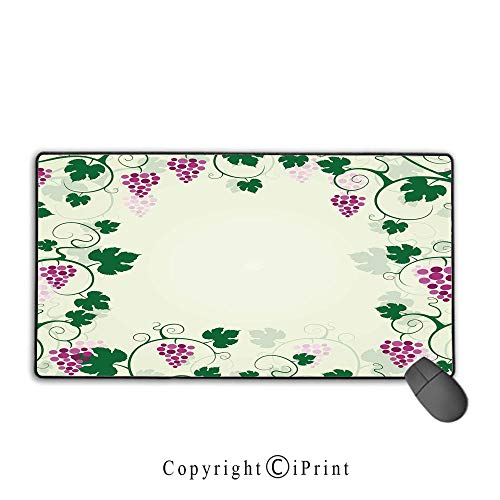 - Extended Mousepad with Durable Stitched Edges,Nature,Grape Vines Framework Fruit Garden Curvy Branches Leaves Vintage Illustration,Pink Purple Green, Non-Slip Rubber Base,9.8