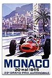 France - Monaco - 23e Grand Prix Automobile - (artist: Turner c. 1965) - Vintage Advertisement (12x18 Aluminum Wall Sign, Wall Decor Ready to Hang)