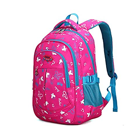 ProEtrade Girls Boys Cute Butterfly Pattern Kid Child School Backpack Bookbag (Rose Red) (Backpack With Butterflies)