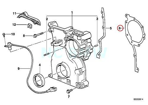 Gasket Timing Cover E36 (Genuine BMW E36 E38 E39 Z3 Lower Chain Case Metal Gasket OEM 11141740846)