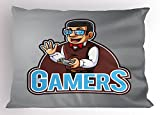 Lunarable Gamer Pillow Sham, Nerdy Guy Figure with Bow Tie Glasses and Vest Holding a Console Videogame Controller, Decorative Standard Queen Size Printed Pillowcase, 30 X 20 inches, Multicolor