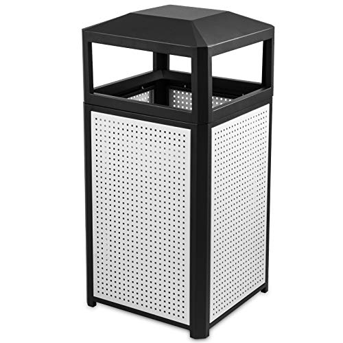 - BestEquip Trash Can 15 Gallon Indoor and Outdoor Trash Cans Commercial Steel Garbage Can with for Coffee Houses Campuses and Parks