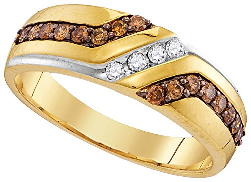 Size 8 - 10k Yellow Gold Mens Round Chocolate Brown Diamond Wedding Anniversary Band Ring (1/3 Cttw)