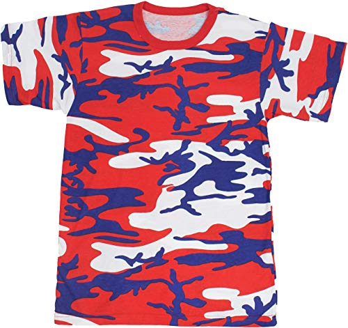 Army Universe Red White Blue USA Camouflage Short Sleeve T-Shirt Pin - Size Large (41