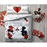 Exclusive Valentine's Day Gift Original Licensed Double Queen DISNEY MICKEY PERFECT MATCH 100% Cotton Ranforce Duvet Cover Bedding Set 4-Piece