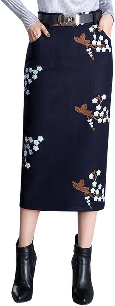 BSQZ JIN Ping® Faldas de lápiz de Lana, otoño e Invierno de Alta Cintura Impresa Sexy Vestido de Cadera Abierto Delgado Partido de la Cadera (Tamaño : XL)
