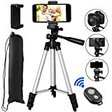 Phone Tripod, PEYOU 42'' Aluminum Camera Tripod+Universal Smartphone Holder Mount+Bluetooth Wireless Remote Control Shutter Compatible for iPhone X 8 7 6 Plus,Compatible for Galaxy Note 8 S9 S8 Plus S7