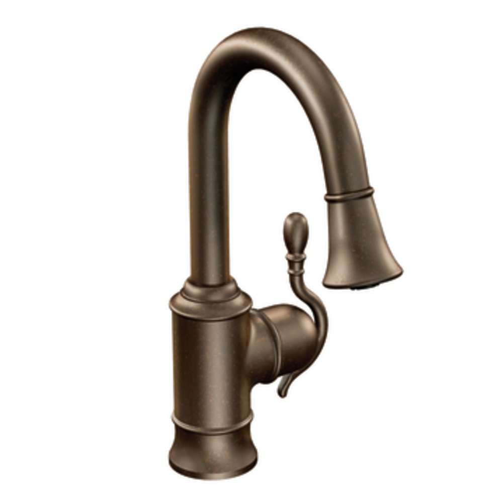 Moen S6208ORB Woodmere One-Handle High Arc Pulldown Single Mount Bar Faucet, Oil Rubbed Bronze by Moen