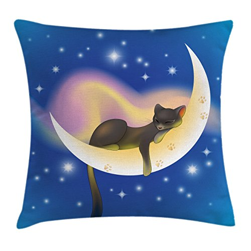 """Ambesonne Cat Throw Pillow Cushion Cover, Cat Sleeping on Crescent Moon Stars Night Dreams Themed Kids Nursery Design, Decorative Square Accent Pillow Case, 16"""" X 16"""", Blue Yellow"""