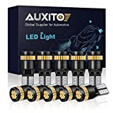 AUXITO 194 LED Light Bulb,Super Bright Amber Yellow 168 2825 W5W T10 Wedge 24-SMD 3014 Chipsets LED Replacement Bulbs for Car Dome Map License Plate Lights (Pack of 10)