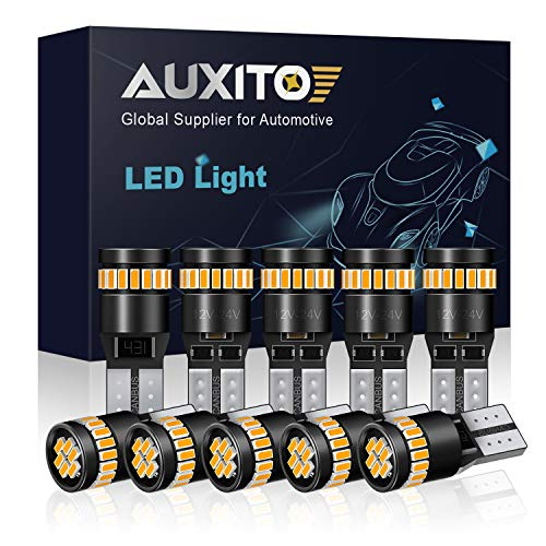 AUXITO 194 LED Light Bulb, Amber Yellow 168 2825 W5W T10 Wedge 24-SMD 3014 Chipsets LED Replacement Bulbs for Car Dome Map License Plate Lights (Pack of 10)