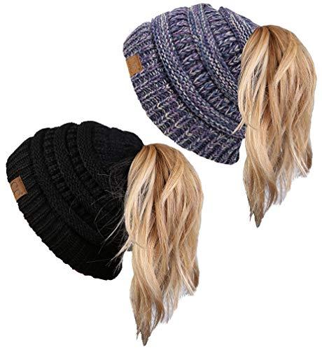 43403ecdf5b1e Funky Junque CC Ponytail Messy Bun BeanieTail Womens Beanie Solid Ribbed Hat  Cap