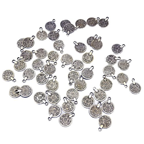 100 Pieces Gypsy Boho Carving Flower Coin Charm for Jewelry Making Pendant ()