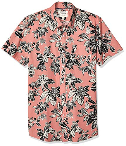 Goodthreads Men's Slim-Fit Short-Sleeve Printed Poplin Shirt, Pink Large Floral, Medium