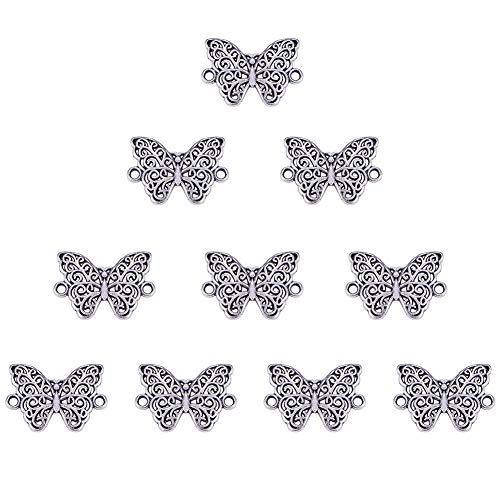 - SUNNYCLUE 1 Box 10pcs Thai Sterling Silver Filigree Butterfly Wrap Connector Charms Pendant(2 Hole) 14x21mm for DIY Jewelry Making Findings Accessory Craft Supplies Nickel Free