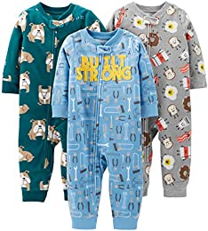 Baby and Toddler Boys 3-Pack Loose Fit Fleece Footless Pajamas