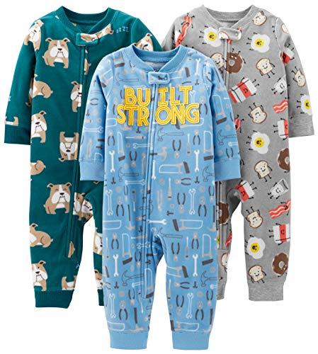 Simple Joys by Carter's Boys' 3-Pack Loose Fit Flame Resistant Fleece Footless Pajamas, Bulldogs/Breakfast/Tools, 18 - Boys Fleece Sleeper