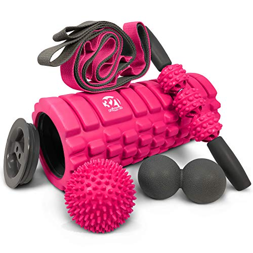 5 In 1 Foam Roller Set Includes Hollow Core Massage Roller with End Caps , Muscle Roller Stick , Stretching Strap , Double Lacrosse Peanut , Spikey Plantar Fasciitis Ball , all in Giftable Box - Pink ()