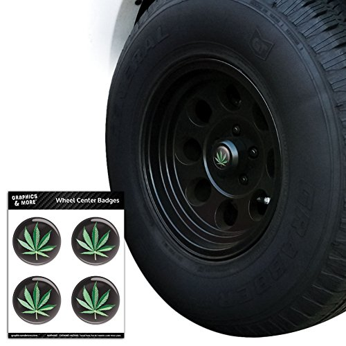 Marijuana Pot Weed Leaf Bud Ganja Green Mary Jane on Black Tire Wheel Center Cap Resin-Topped Badges Stickers - 2.6