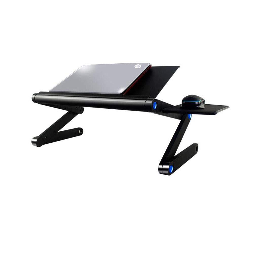 テーブルチェアセット 表 机 折りたたみ可能 ラップトップ ベッド ソファー トレイ 立っている ポータブル スタンド 冷却 クーラー ファン 調節可能な 人間工学に基づいた コンピューター ノート と マウス ボード CJC (色 : 黒)  黒 B07GLX85BF