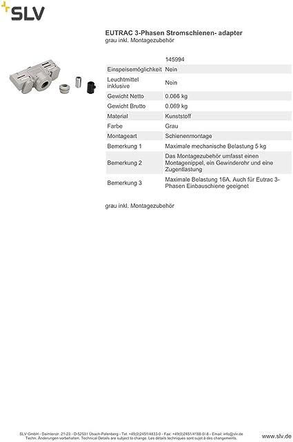EUTRAC 3-Phasen Stromschienenadapter Montagenippel grau inkl