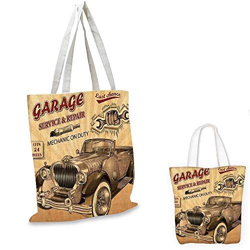 Vintage Decor ultralight shopping bag Nostalgic Car Figure with Garage Service and Repair Store Phrase Dated Faded pocketable shopping bag Sepia Red. 13