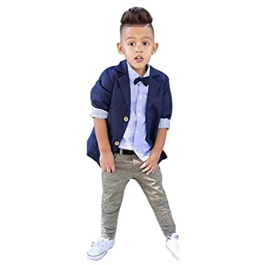 f75672521b SHOBDW Boys Clothing Sets, 3PCS/Set Kids Toddler Boy Wedding School ...